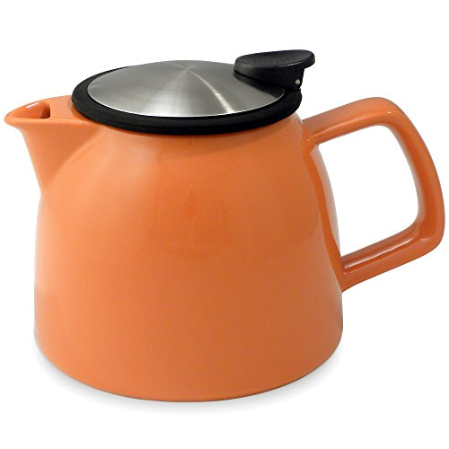 FORLIFE Bell Ceramic Teapot with Basket Infuser, 26-Ounce/770ml, Carrot