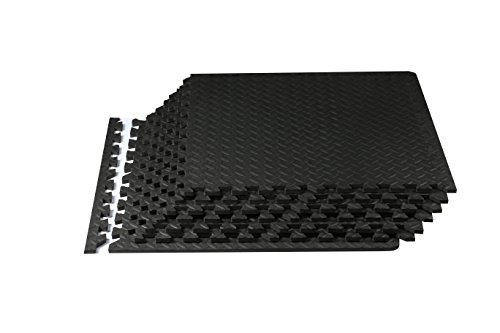 Spoga Foam Exercise Mat EVA with Interlocking Tiles, Black