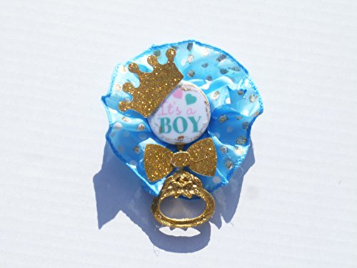 Little Prince It's a Boy Royal Prince Baby ShowerCorsage for Mother Boy (It's a Boy Shaker- Blue Polka Dot with Gold)