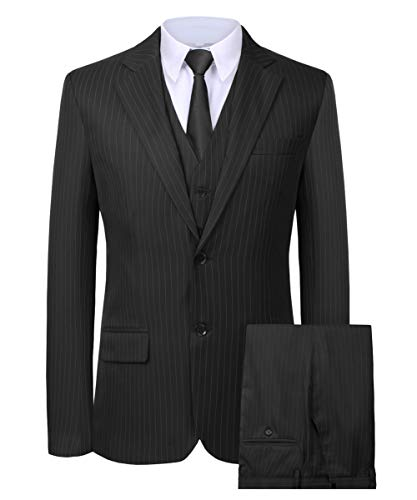 Hanayome Men's 3 Pieces Business Suits Slim Fit Stripe Blazer Jacket Vest Pants Set SI137 (Black,40) -