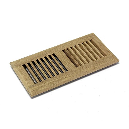 WELLAND 4X10 White Oak Wood Self Rimming Floor Register Vent Cover Unfinished by WELLAND, 3/4