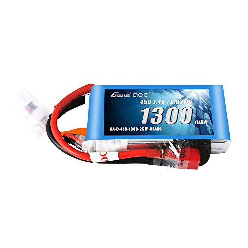 Gens ace 7.4V 1300mAh 2S 45C LiPo Battery Pack with Deans Plug for Glider 3D Plane Park Flyers Vortex RC Helicopter Airplane FPV Quadcopter Drone ()