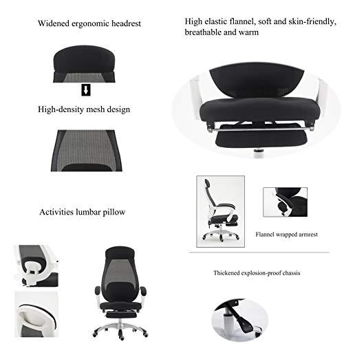 YYL kontorsstol ergonomisk kontorsstol, 170 ° liggande hög rygg vridbar nät dator skrivbordsstol, lyftstol med fotstöd svängbar stol