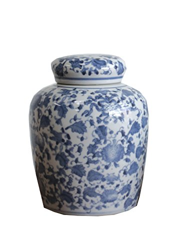 Large Round Blue and White Ceramic Ginger Jar with Lid - Blue Ginger Jar