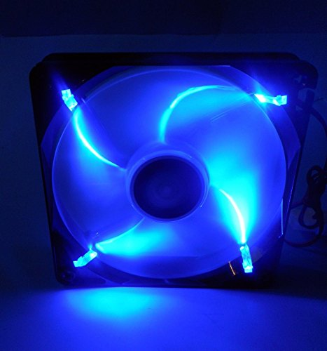 Lepa LPF12FLB-BL 120mm Blue LED Silent Fan for Gaming PC, Desktop Mid Tower Computer Case, CPU Cooler, and Radiator Cooling