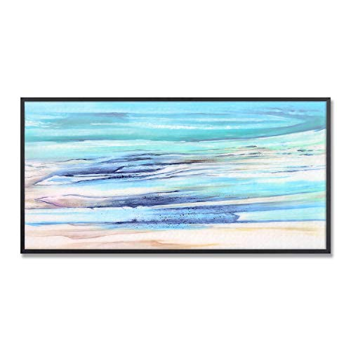 MOTINI Abstract Wall Art Blue Ocean Unique Picture Print on Acrylic Glass Framed Modern Artwork Wall Decor for Living Room Bedroom Office Study Bathroom Kitchen, 31.5'' × 15.75'' (Art Glass Wall Framed)