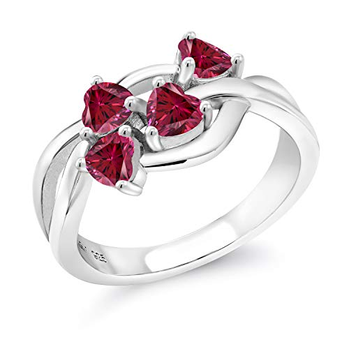 925 Sterling Silver Class Heart Shape Ring Set with Red Zirconia from Swarovski (Size 5)