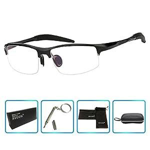 Beison Sports Optical Eyeglasses Frame Plain Glasses Clear Lens Rx (Black, 58)