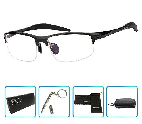d01a949da9b Beison Sports Optical Eyeglasses Frame Plain Glasses Clear Lens Rx (Black