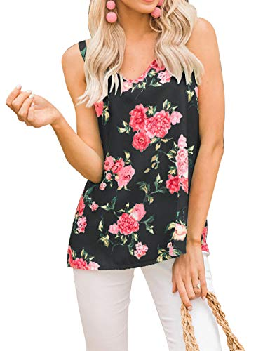 Loose Tank Tops for Women Spaghetti Strap V Neck Floral Print Blouse Shirts Black L