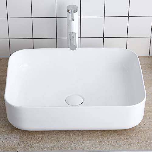 Rectangular White Porcelain Ceramic Sink Bathroom Vessel Sink 19 Inch - Bathroom Vanity Bowl Above Counter Sink Art Basin Lalasani Kitchen Sink Fireclay Farmhouse - Rectangular Bathroom White Sink