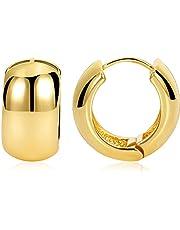 FAMARINE Small Chunky Thick Hoop Earrings for Women Girls Gold Hoops Huggie Earrings for Men Gift, 14K Gold Plated