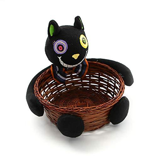 Beautyer Halloween Candy Basket Ghost Pumpkin Head Doll Decoration Bowl for Biscuit Fruit,Black Cat ()