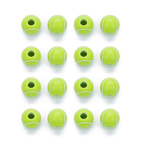 Linsoir Beads Green Tennis Balls Beads Acrylic Beads 11mm Round Beads 4mm Inner Hole for Jewelry Making 50 pcs/lot (Tennis Shoe Charms)