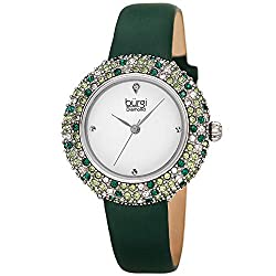 Swarovski Colored Crystal Slim Leather Strap Watch