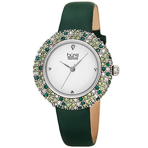 Burgi Swarovski Colored Crystal Watch - A Genuine Diamond Marker on a Slim Leather Strap Elegant Women's Wristwatch - Mothers Day Gift -BUR227GN (Green)