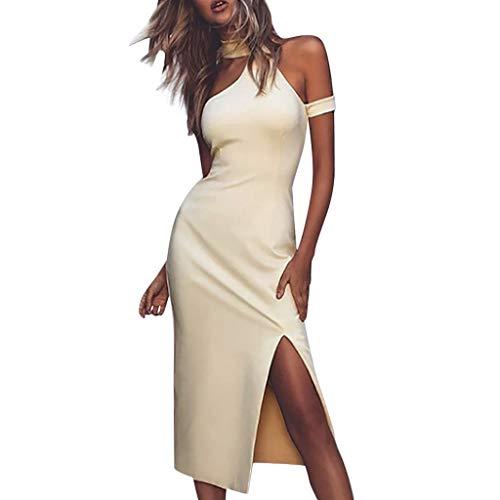 ℱLOVESOOℱ Women's Sexy One Shoulder Sleeveless Cutout Ruched Side Split Bodycon Club Dress Bar Cocktail Dress Beige