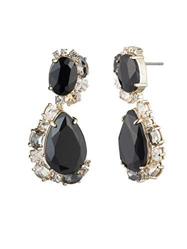 Carolee Women's Double Drop Stone Swirl Earring, Gold/Black