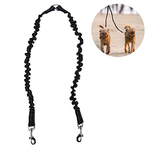 Double Dog Leash Coupler, No Tangle Adjustable Lead Walker Dog with Trainer Leash Splitter, Extends 20 to 31.5 Inches