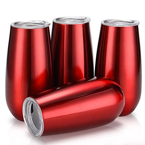 Skylety 4 Pack Stemless Double-insulated Wine Tumbler Champagne Flutes, 6 OZ Reusable Cocktail Cups Unbreakable Champagne Toasting Glasses with Lids (Wine Red) ()