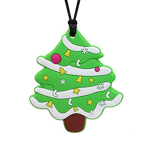 Sensory Chew Necklace for Kids Boys and Girls, Silicone Christmas Tree Chewy Pendant for Baby Teething Biting Chewing, Oral Motor Chewable Necklace for Autism SPD ADHD Reduce Anxiety