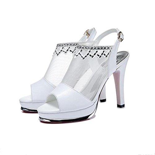 W&LM Sra Tacón alto sandalias Cuero Sandalias Zapatos de la boca de los pescados Hilo de red Piedras de Strass Multa Tacones altos White