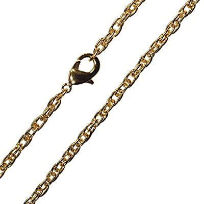 "Gold-Tone Steel Chain Necklace 3mm Rope 20"" from ugems"