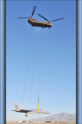 24x36 Poster . Nevada National Guard Ch-47 Chinook Helicopter Lifts F-15A Eagle - F-15a Eagle