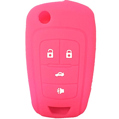 New Hot Pink 4 Buttons Key Cover for Flip Folding Key Case Cover Silicone cover for 2010 2011 2012 2013 2014 Chevrolet Camaro