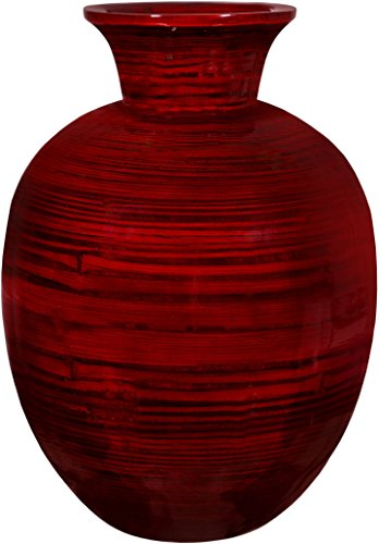 "Zeesline Bamboo Vase Centerpiece - Red Glossy Finish, Wood Grain Design, 14.25"" Tall ~ Home Décor for Living Room and Coffee Tables (Dark Red 2)"