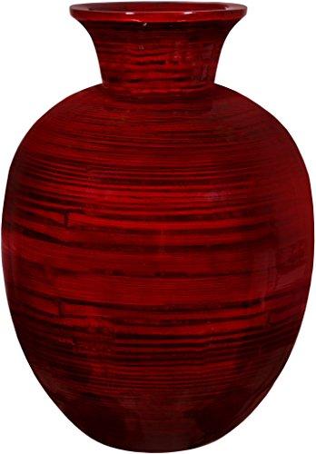 Zeesline Bamboo Vase Centerpiece - Red Glossy Finish, Wood Grain Design, 14.25