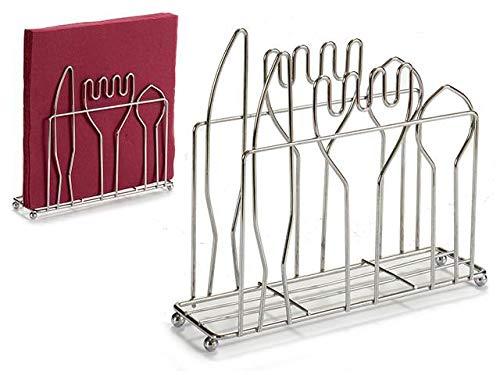 Servilletero pack 2 metalico rectangular 5,5x18x16cm