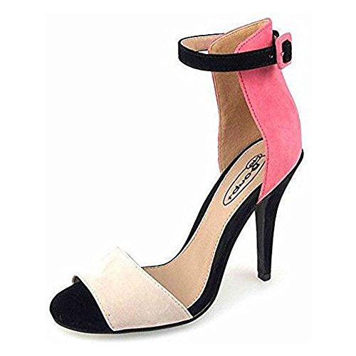 Ladies High Stiletto Heel Open Toe Back Ankle Strap Faux Suede Sandals Shoes 3-8 Coral / Light Cream / Black tyzIDG