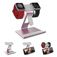ATOPMORE 2 en 1 Apple iWatch Double Tête Support et Téléphone Portable Support Tablette Stand en Aluminium Station pour iPhone 7 7plus 6S 6 plus 5 5s, iWatch (38mm 42mm) Or Rose