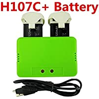 Fytoo Helicopter Accessories 2pcs 3.7V 520mah battery &1pcs 2 in1 battery charger for Hubsan H107C Plus (H107C+) X4 RC quadcopter Spare Parts