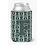 Caroline's Treasures CJ1071-FCC Letter F Football Green and White Can or Bottle Hugger, Multicolor
