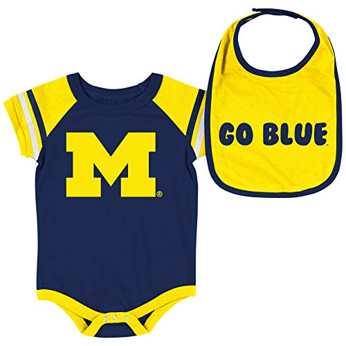 Colosseum NCAA Baby Short Sleeve Bodysuit and Bib 2-Pack-Newborn and Infant Sizes-Michigan Wolverines-0-3 Months