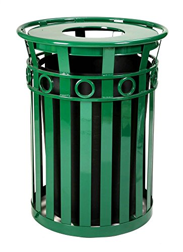 Decorative Steel Trash Receptacle with Flat Top Lid in Green (Ash Urn Lid/Black) ()