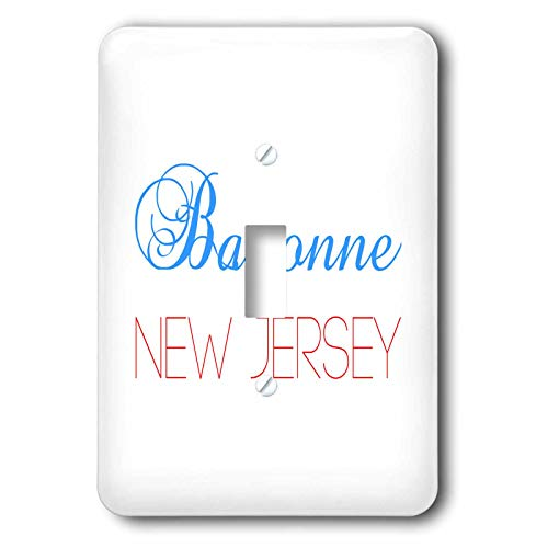 3dRose Alexis Design - American Cities New Jersey - Bayonne, New Jersey, red, blue text. Patriotic home town design - Light Switch Covers - single toggle switch (lsp_300825_1)