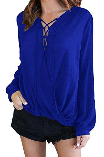 Neuf Bleu en bambou à lacets à manches longues Blouse de soirée pour femme Tenue décontractée d'été Taille UK 8EU 36