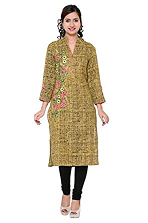 KHADI Mustard Yellow Designer Hand Embroidered Kurti DZ0180 (DESIGNER-DOLLZ ) B682006