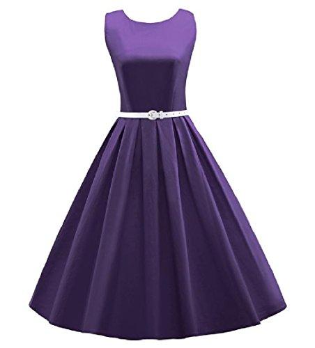 Coolred-femmes Bouffis Retro Vintage Zippé Robe De Soirée Robe De Bal De Pin-up Violet
