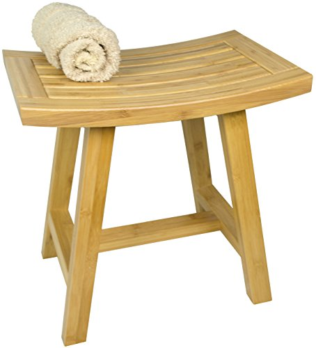 Bench Bathroom Accessories (Shower Furniture -  Asia Lotus Bamboo Bath Bench Shelf Seat or Decor for Bathroom or Sauna)