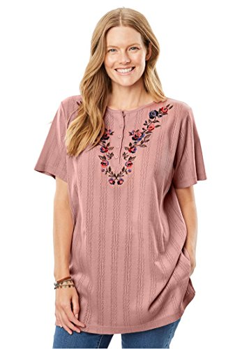 Only Necessities Women's Plus Size Top, Tunic Length 7-Day Pointelle Knit, (Pointelle Knit Top)
