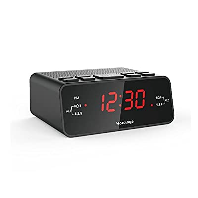 "Horologe Alarm Clock Radio with Dual Alarms, AM/FM Radio, 0.6"" Digital LED Display and Battery Backup in Case of Power Failure"