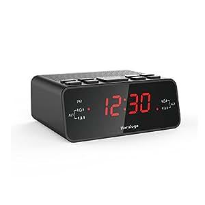 horologe alarm clock radio with dual alarms am fm radio 0 6 digital led display. Black Bedroom Furniture Sets. Home Design Ideas