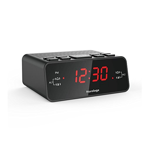 Horologe Alarm Clock Radio with Dual Alarms, AM/FM Radio, 0.6
