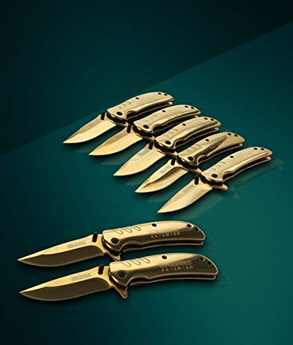 Eternity Engraving 6 Engraved Pocket Knifes, 6 Folding Pocket Knives Gift Set Personalized for Men and Women, Customized Knife Gift (Gold) by Eternity Engraving (Image #5)