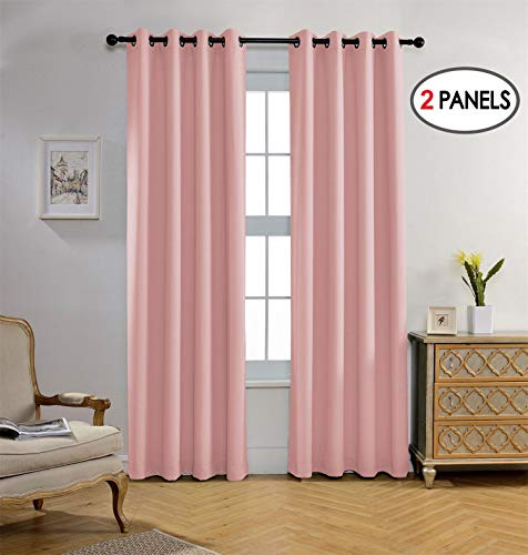 Miuco Blackout Curtains Room Darkening Curtains Textured Grommet Curtains Kids Bedroom Set of 2 52x84 Inch Pink