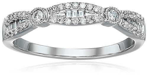 10k White Gold Round and Baguette Diamond Fashion Band With Milgrain (1/5cttw, I Color, I3 Clarity), Size ()
